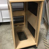Bespoke wooden portable equipment rack 22U