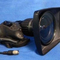 This is a used Canon HJ11 X 4.5 B IASE full servo lens which has perfect condition optics