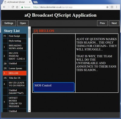aQ Broadcast Launches QScript.app for On-Air Mobility